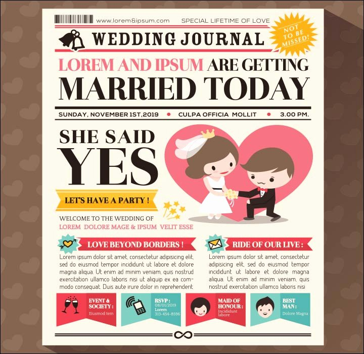 Newspaper Wedding Announcement Template Lovely 10 Super Adorable Cartoon Wedding Invitations for the Fun