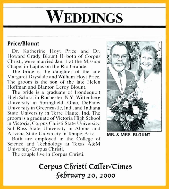 Newspaper Wedding Announcement Template Lovely Newspaper Announcement Template Printable Newspaper