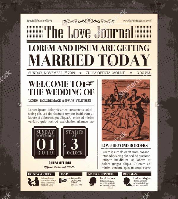 Newspaper Wedding Announcement Template New Wedding Newspaper Templates 7 Word Pdf Psd Indesign