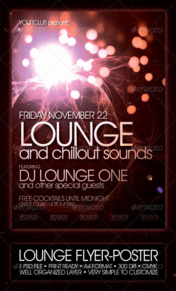 Night Club Flyer Template Beautiful Lounge Flyer Poster Template