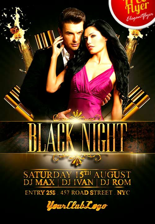 Night Club Flyer Template Elegant Download Free Black Night Club Psd Flyer Template