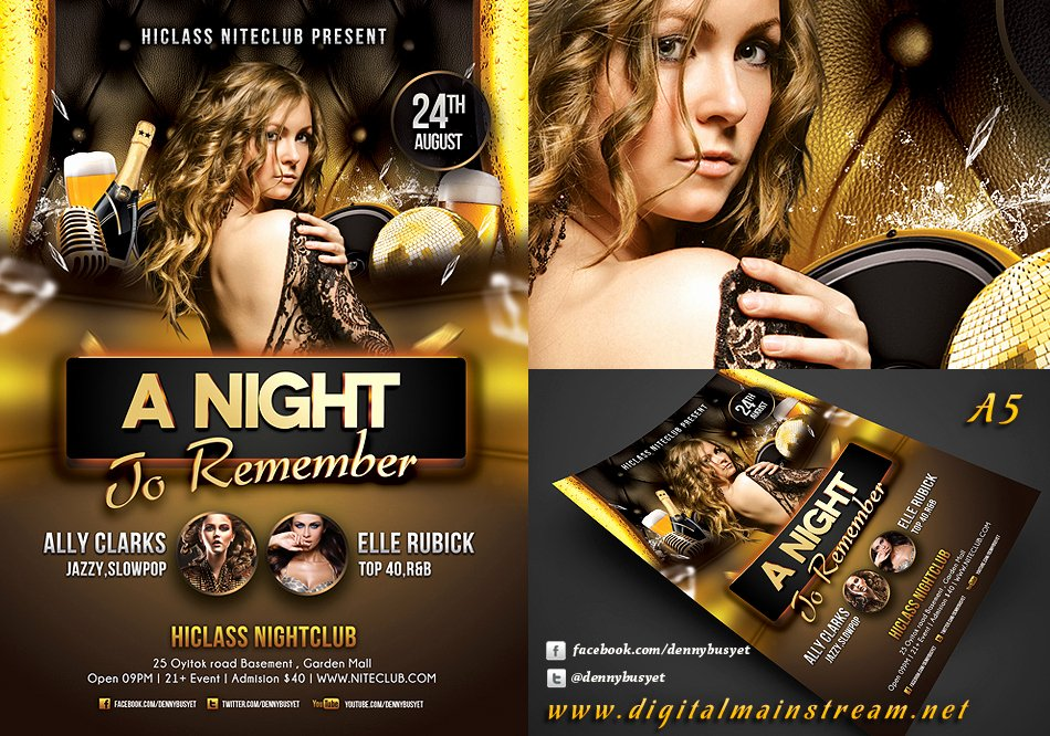Night Club Flyer Template Fresh A Night to Remember Nightclub Flyer Template by