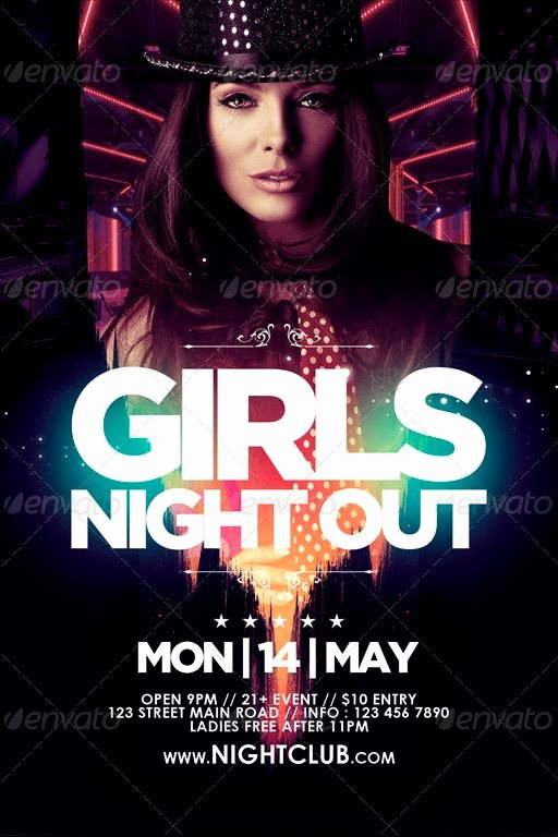 Night Club Flyer Template Inspirational Girls Night Out Flyer Template