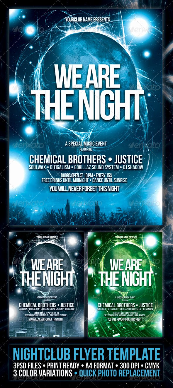 Night Club Flyer Template Inspirational Nightclub Flyer Poster Template
