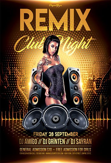 Night Club Flyer Template Unique Remix Club Night – Free Flyer Psd Template – by Elegantflyer