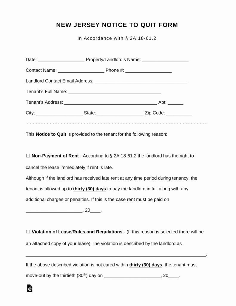 Nj Eviction Notice Template Best Of Free New Jersey Notice to Quit form