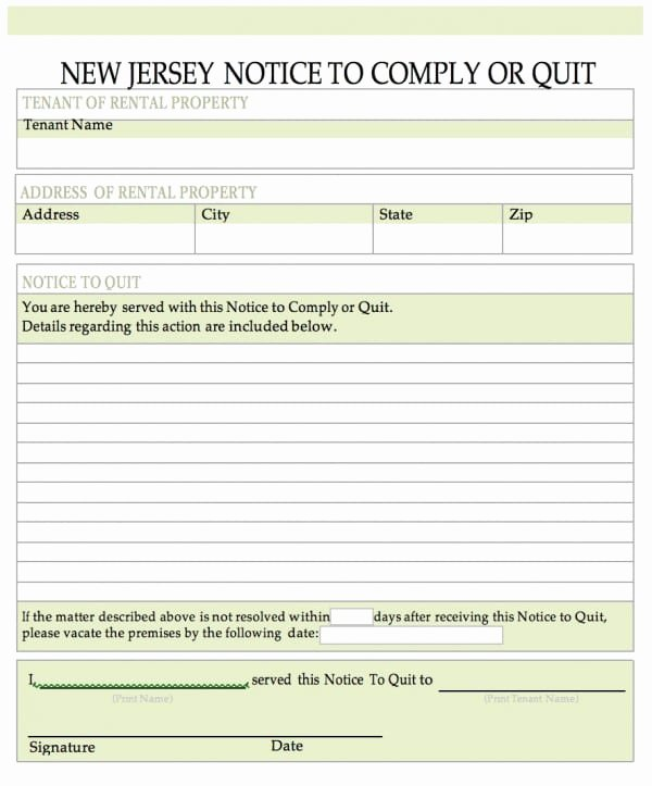 Nj Eviction Notice Template Fresh Free New Jersey Notice to Quit
