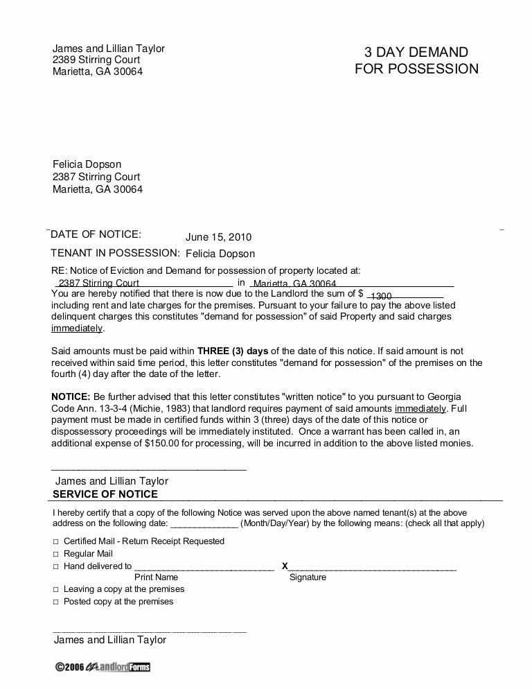 Nj Eviction Notice Template Inspirational Georgia 3 Day Demand for Possession