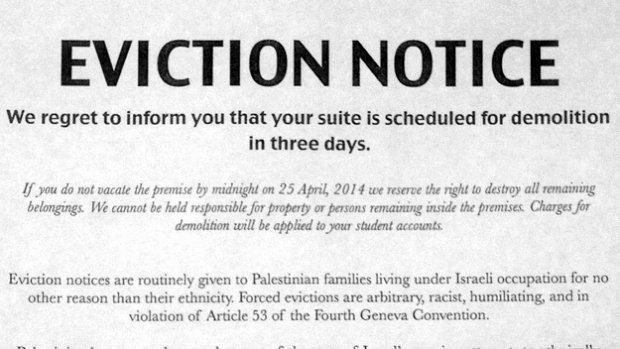 Nj Eviction Notice Template Luxury Nyu Jewish Students Pro Palestinian Group's 'eviction