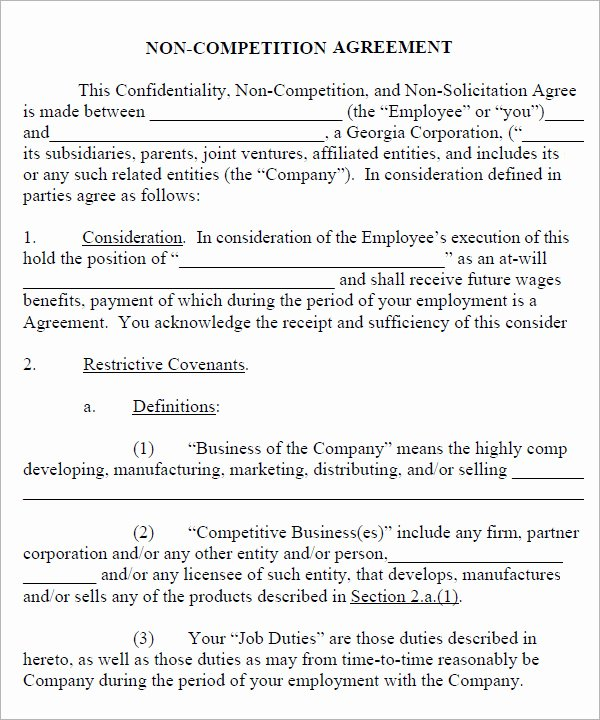 No Compete Clause Template Fresh 7 Sample Non Pete Agreement Templates to Download