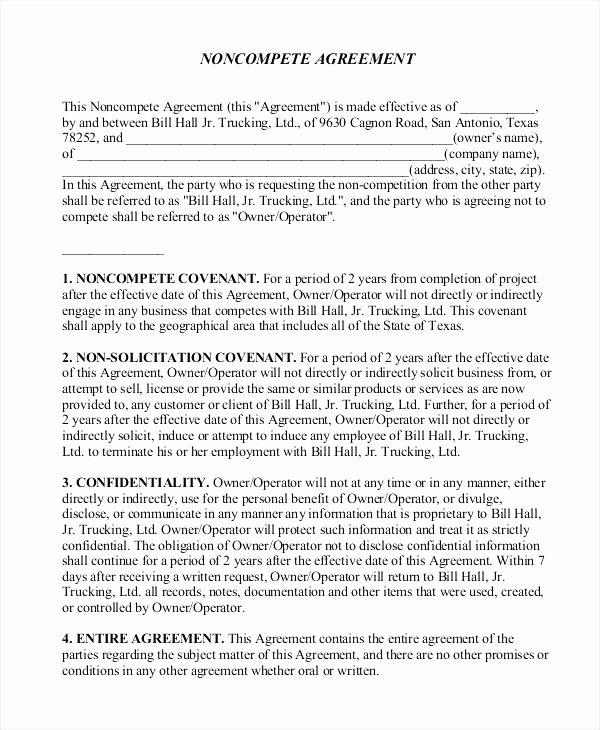 No Compete Clause Template Unique Non Pete Contract Template attorney Agreement No