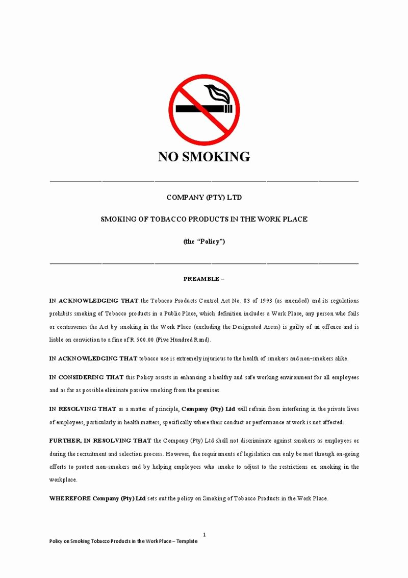No Smoking Policy Template Awesome Smoking Policy Template Templates Data