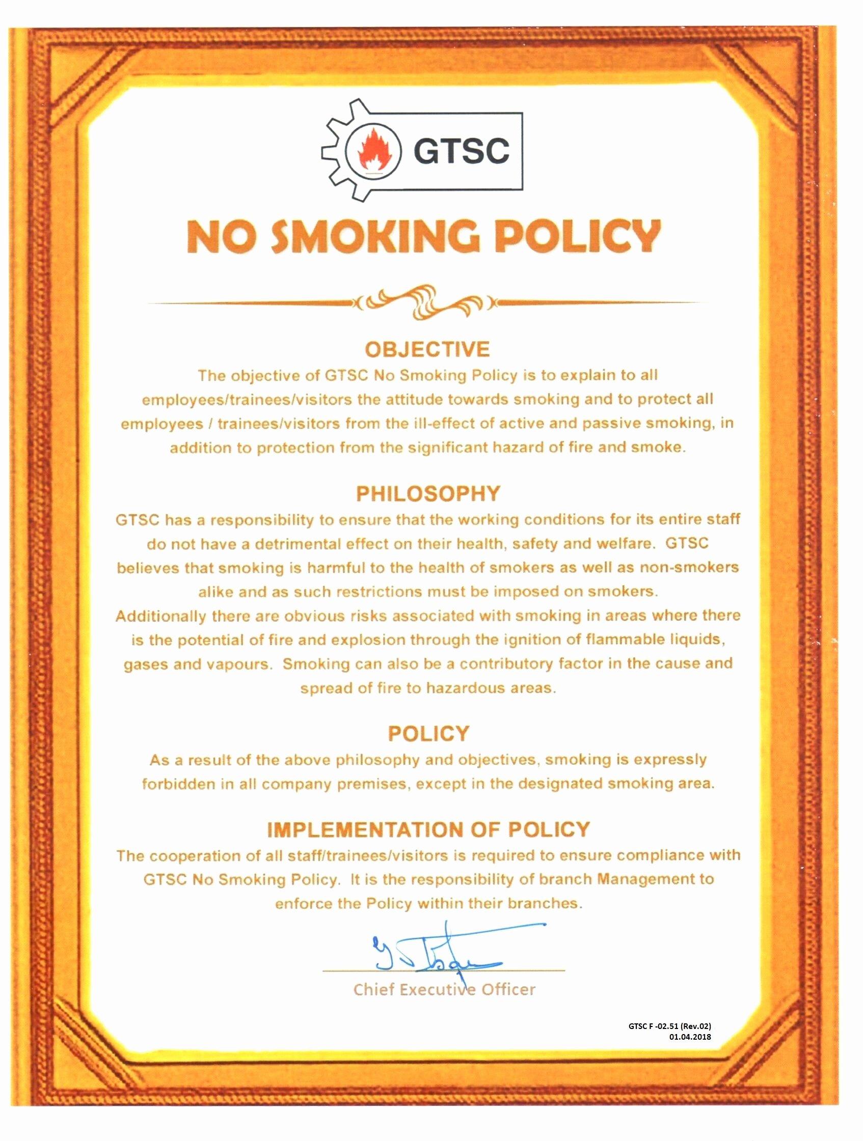 No Smoking Policy Template Fresh No Smoking Policy