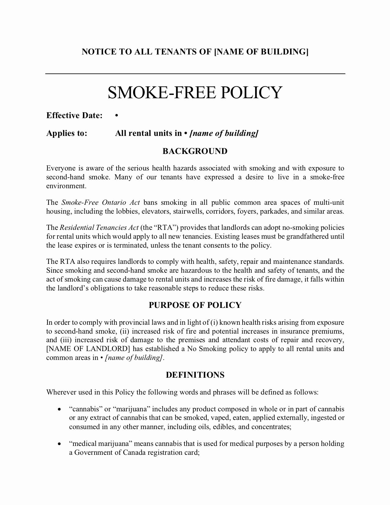 No Smoking Policy Template Inspirational Tario Smoke Free Policy for Rental Building