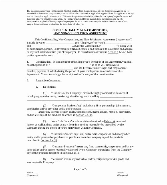 Non Compete Agreement Template Awesome Non Pete Agreement Template – 10 Free Word Excel Pdf
