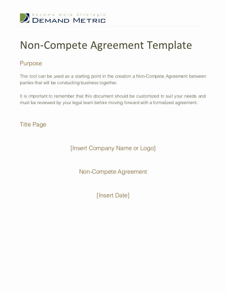 Non Compete Agreement Template Awesome Non Pete Agreement Template