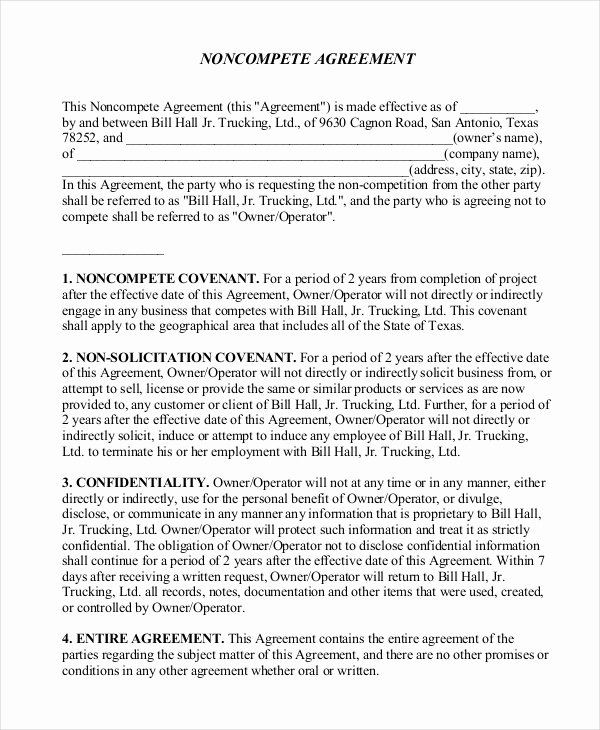 Non Compete Agreement Template Best Of 10 Non Pete Agreement forms Free Sample Example