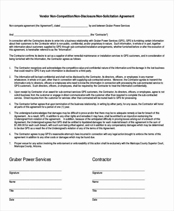 Non Compete Agreement Template Elegant 12 Simple Non Pete Agreement Templates Free Word