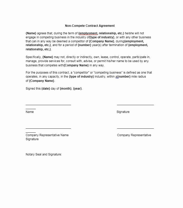 Non Compete Agreement Template Elegant 39 Ready to Use Non Pete Agreement Templates Template Lab