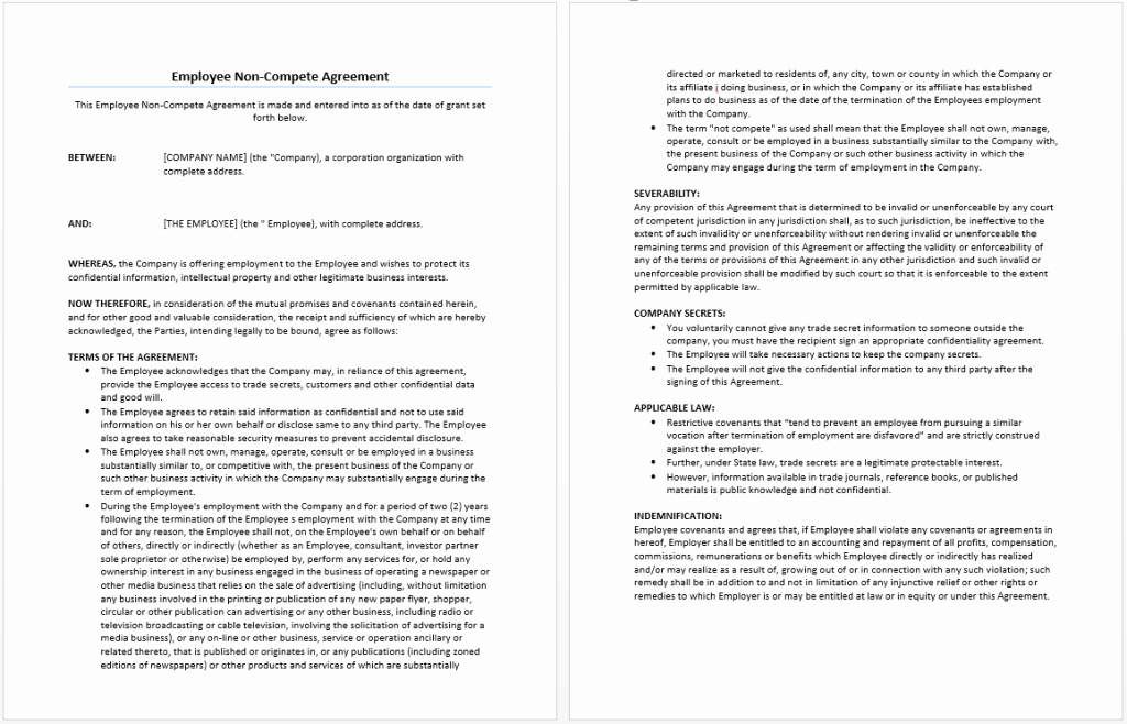 Non Compete Agreement Template Elegant Employee Non Pete Agreement Template Word Templates