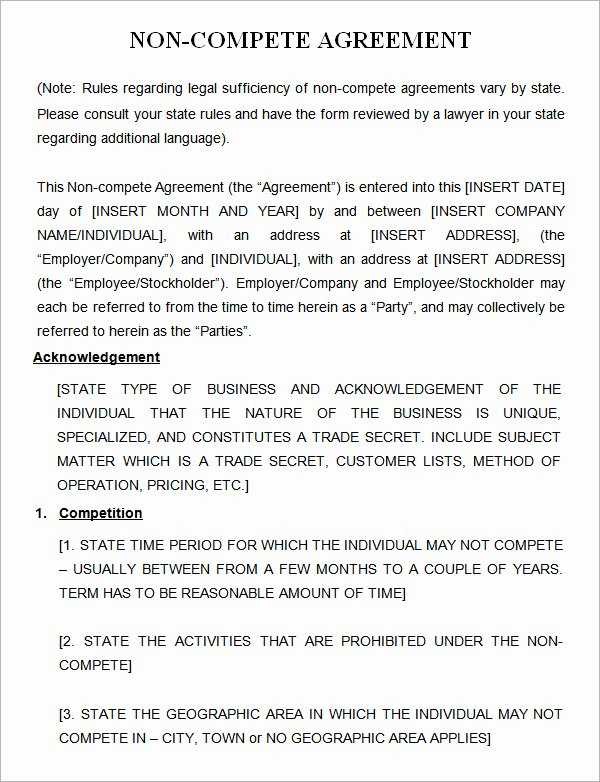Non Compete Agreement Template Inspirational 7 Sample Non Pete Agreement Templates to Download