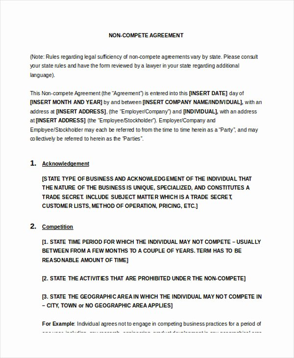 Non Compete Agreement Template Lovely Non Pete Agreement 11 Free Word Pdf Documents