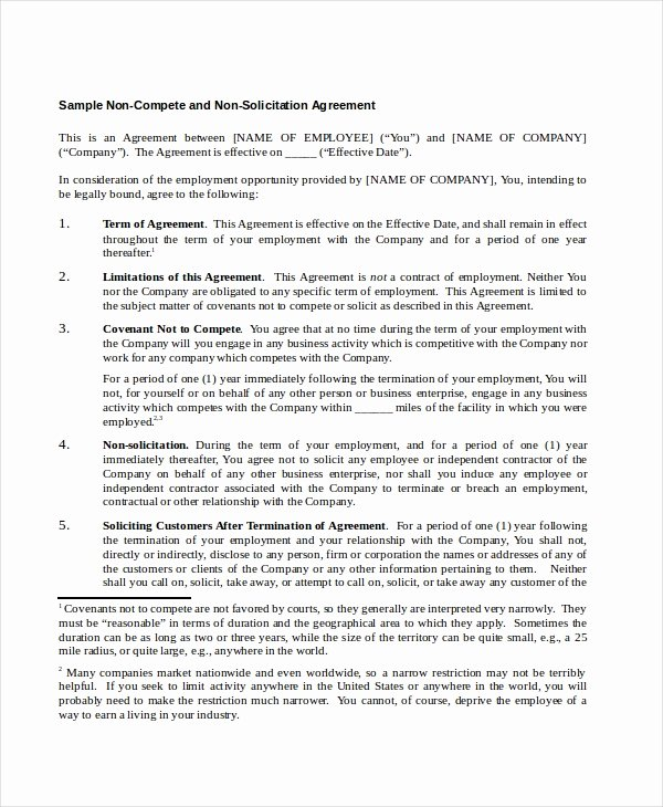 Non Compete Agreement Template Luxury 13 Non Pete Agreements Free Word Pdf format
