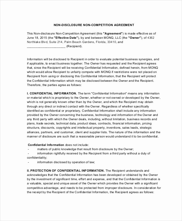 Non Compete Clause Template Fresh 13 Non Pete Agreements Free Word Pdf format