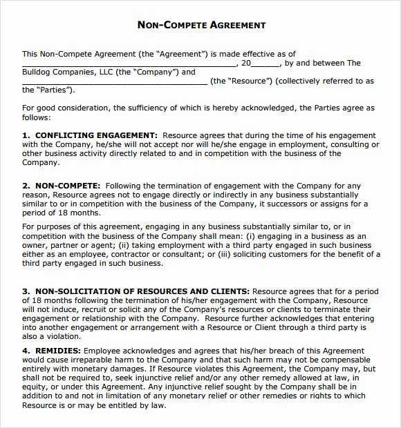 Non Compete Clause Template Fresh Non Pete Agreement 7 Free Samples Examples