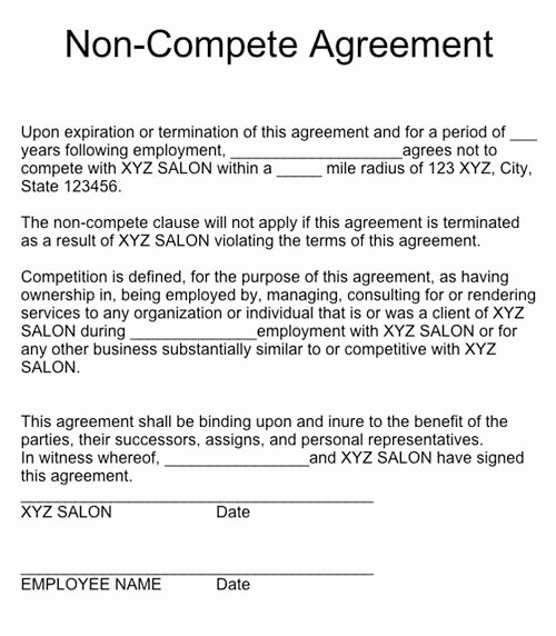 Non Compete Clause Template Lovely Q & A Non Pete Agreements Nails Magazine