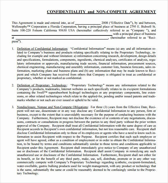 Non Compete Clause Template New 7 Non Pete Agreement Samples Examples Templates