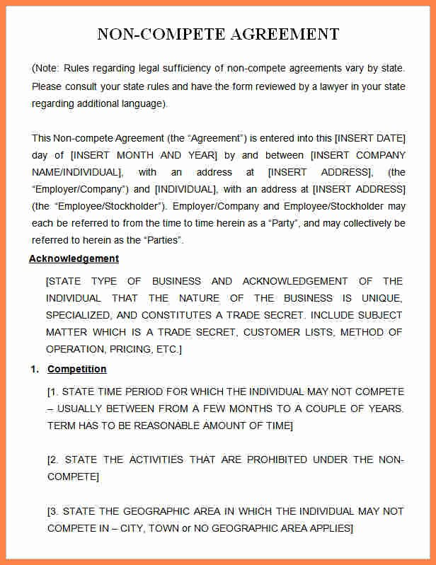 Non Compete Clause Template Unique 7 Business Non Pete Agreement Template