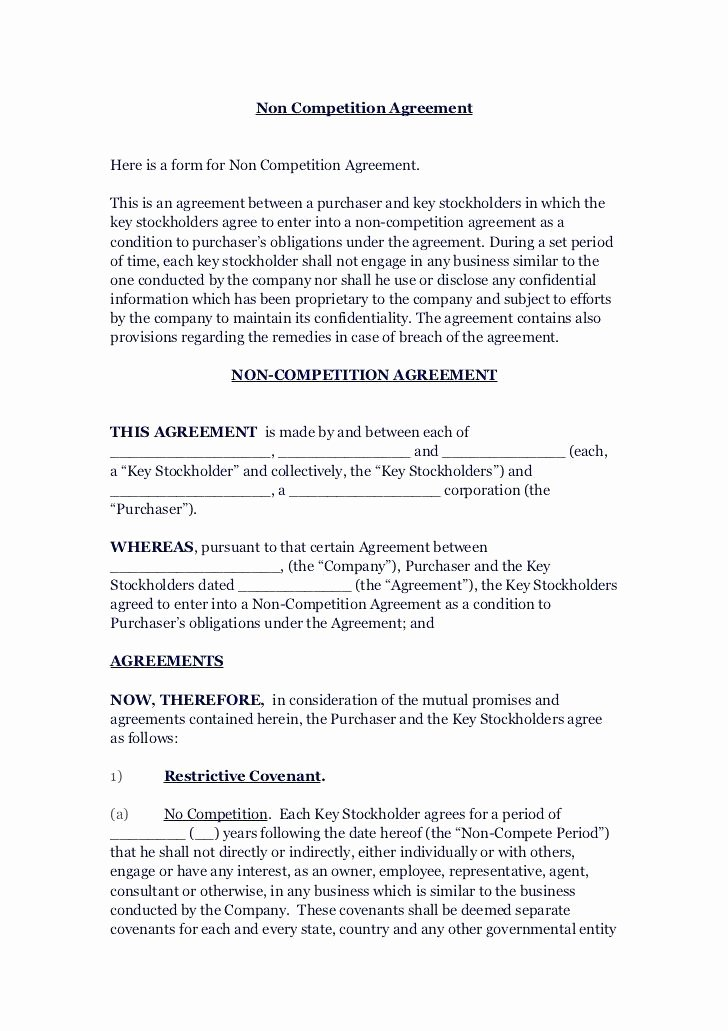 Non Compete Clause Template Unique Non Agreement Elegant Ready to Use Templates Template