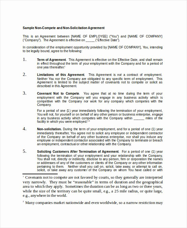 Non Compete Contract Template Awesome Non Pete Agreement 11 Free Word Pdf Documents