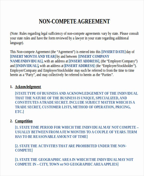 Non Compete Contract Template Best Of 9 Sample Word Non Pete Agreements