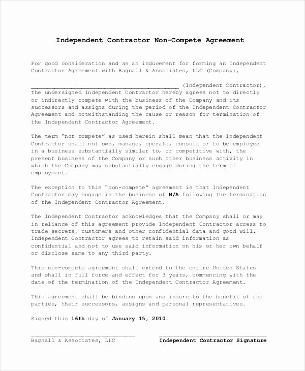 Non Compete Contract Template Best Of Non Pete Agreement 11 Free Word Pdf Documents