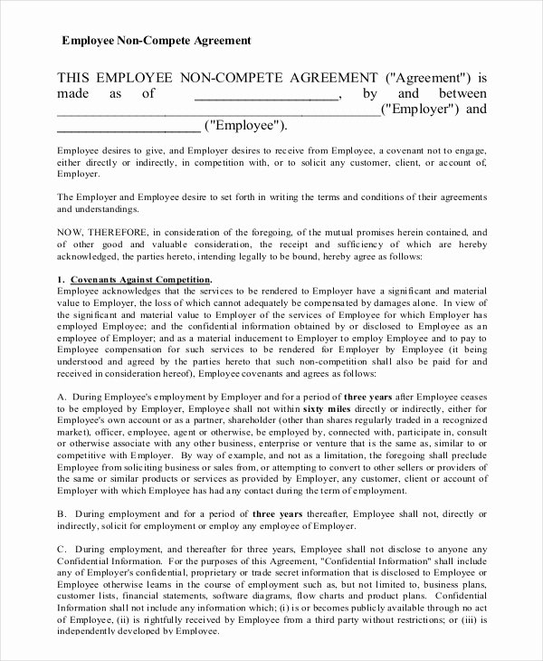 sample employee non pete agreement