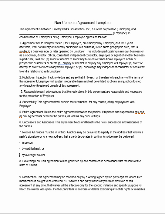 Non Compete Contract Template Elegant 37 Free Non Pete Agreement Templates Ms Word