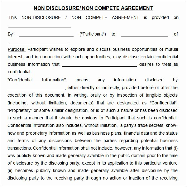 Non Compete Contract Template Inspirational Non Pete Agreement 7 Free Pdf Doc Download