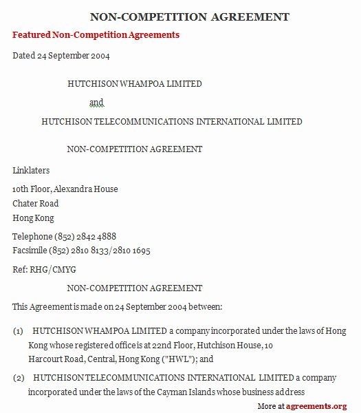 Non Compete Contract Template Lovely Non Pete Agreement Sample Non Pete Agreement Template