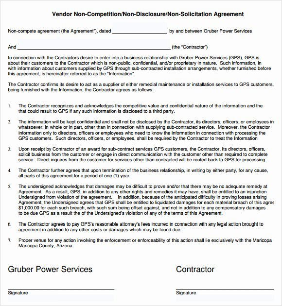 Non Compete Contract Template Luxury 7 Non Pete Agreement Samples Examples Templates