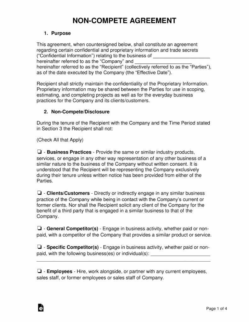 Non Compete Contract Template Luxury Non Pete Agreement Templates