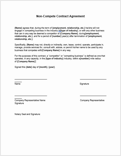Non Compete Contract Template New 37 Free Non Pete Agreement Templates Ms Word