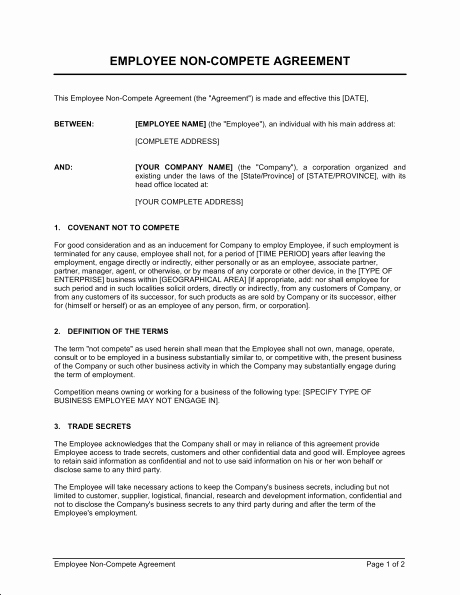 Non Compete Contract Template New Employee Non Pete Agreement Template & Sample form