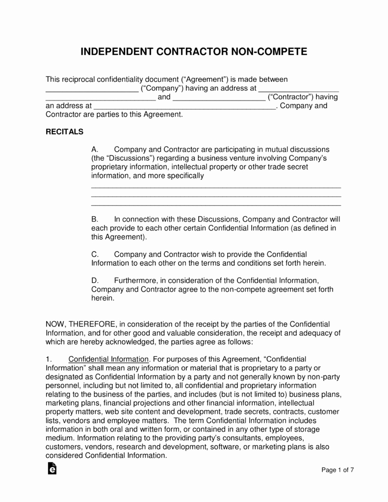 Non Compete Contract Template Unique Independent Contractor Non Pete Agreement Template