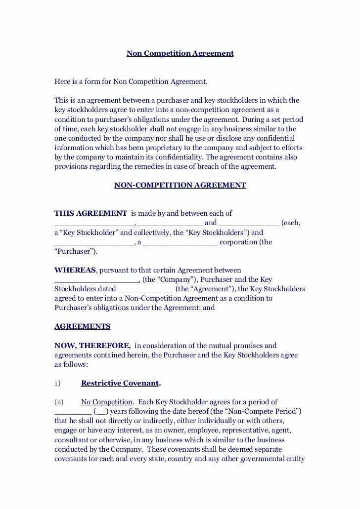 Non Compete Contract Template Unique Non Petition Agreement