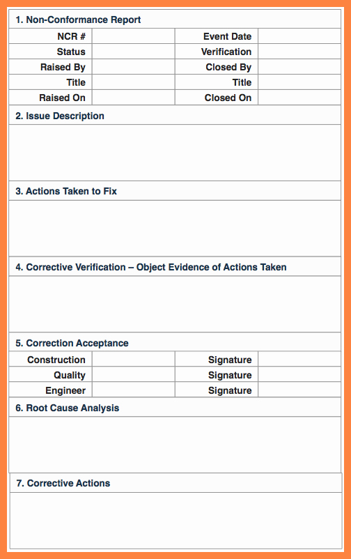 Non Conformance Report Template Beautiful 7 Quality Non Conformance Report Template