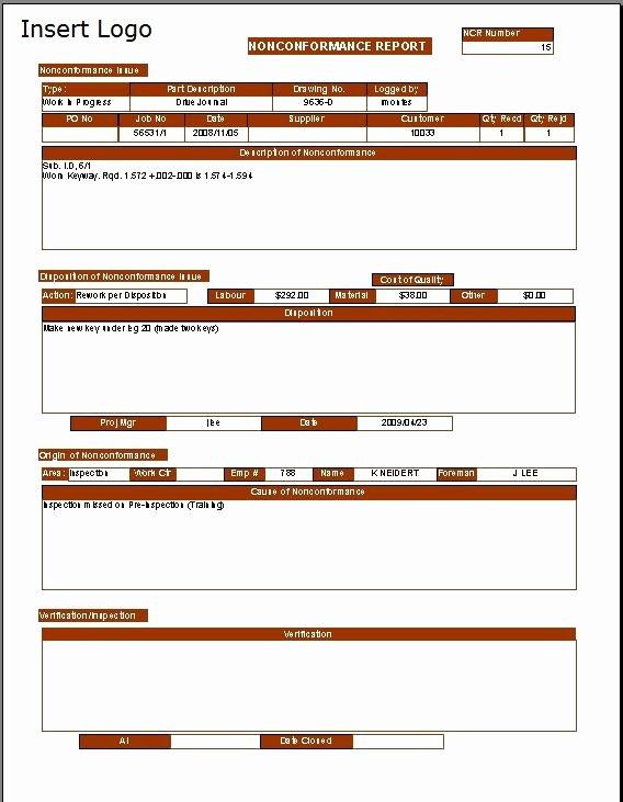 Non Conformance Report Template Beautiful Non Conformance Report