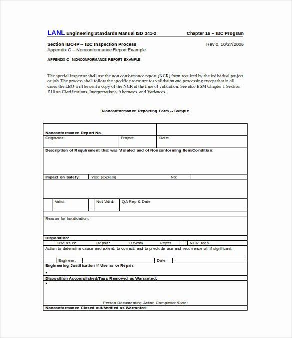 Non Conformance Report Template Elegant 16 Non Conformance Report Templates Pdf Doc Word
