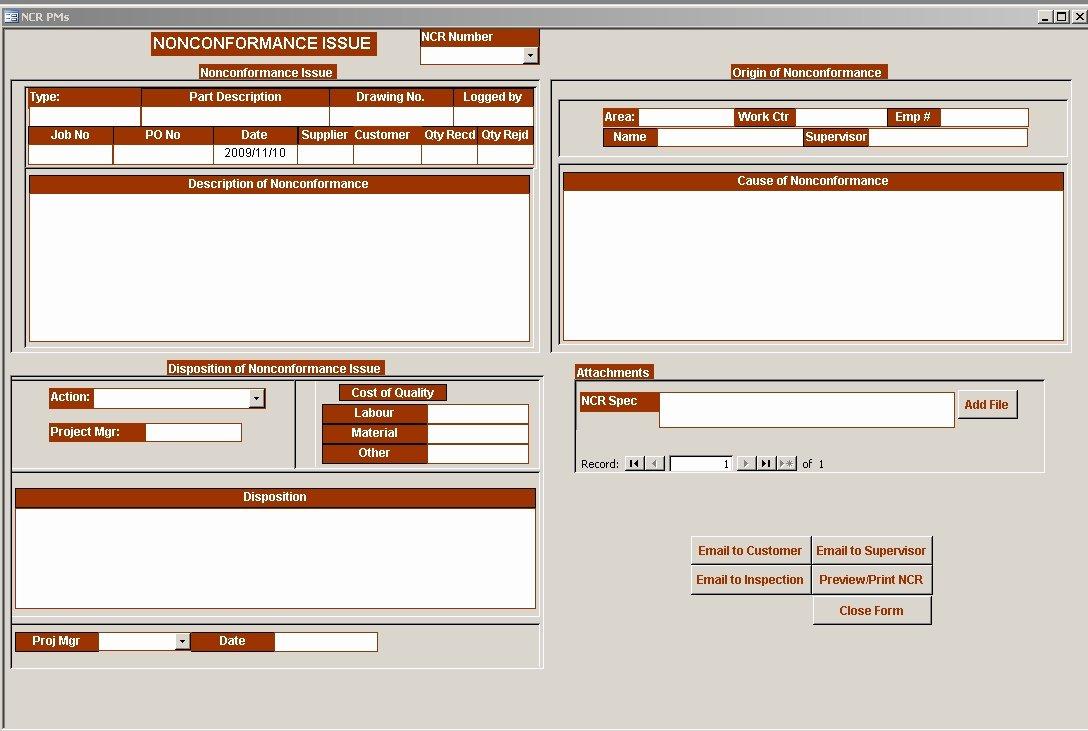 Non Conformance Report Template Elegant Non Conformance Report Program Dimensional Business